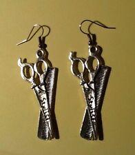 """STYLIST Scissor Comb Cosmetologist Silver Hair Dresser Earrings Great Gift 2"""""""