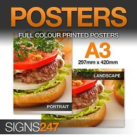 A3 Full Colour SATIN Poster Printing Service - A2 A1 A0 available