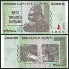 Rare Security Ink Error Zimbabwe 50 trillion dollars Pick 90 UNC OFFER !