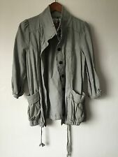 Light Blue Gray Women's Jacket Coat - B + Ab Label 3/4 Sleeve Button Up Size S