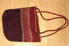 Large PERUVIAN knit wool burgundy thick soft sweater Purse TOTE cross body bag
