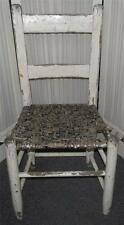 Vintage White Wooden Shabby Chippy Yard Garden Decor Chair Wicker like Seat