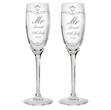 MR AND MRS Personalised Glass Champagne Flute Gift Set - Wedding Anniversary  3