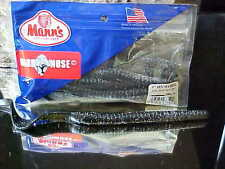 "Mann's 9"" Hard Nose BIGFISH Ribbon Tail Worm 8pk HNW9-10 in BLACK/BLUE MF"