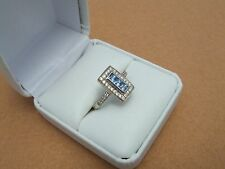 Estate Vintage14K White Gold EFFY Blue Sapphire & Diamond Ring Size 7 fine jewel