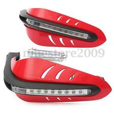 "Red Motorcycle 7/8"" Handlebar Brush Hand Guards Protector With LED DRL Indicator"
