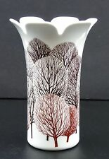 "Germany Thomas China 7"" Vase Fall Winter Tree Motif Mid Century Modern Signed"