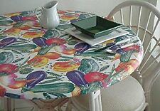"Fitted Elastic Edge Vinyl Tablecloth Table Cover 36"" to 48"" Garden Vegetables"