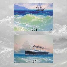 LOT of 2 ACEO PRINTS MARINE ART SEASCAPE GIFT Ocean SHIP Storm Coastal Surf Wave