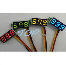 2pcs Mini DC 0-100V Red LED 3-Digital Display Voltage Voltmeter Panel Motor