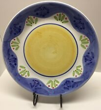 """Caleca Serving Platter, ITALY, Ceramic. Hand Painted yellow, blue. large 14"""""""
