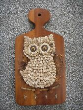 Vintage Wood OWL Key Holder 4 Hooks Handmade Sunflower Seeds Wooden Wall Plaque