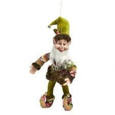 "NEW Green NORDIC ELF JESTER Christmas DOLL Poseable 14"" WOODLAND Jingle BELLS"