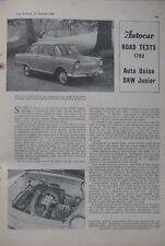 1960 Auto Union Audi DKW Junior Original Autocar magazine Road test