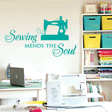 Sewing Mends the Soul ... Saying Vinyl Wall Decals Quote Art Decor Craft Room