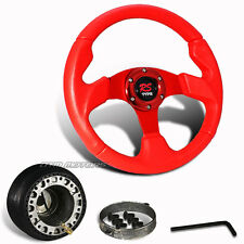 320mm Red PVC Leather JDM Racing Steering Wheel + Hub For Del Sol Integra Civic
