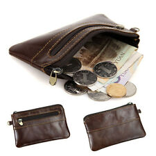 Men's Zipper Genuine Leather Thin Wallet Credit ID Card Holder Coin Purse