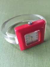 Furla Mod Plastic Red Square Faced Watch with Clear Cuff Band