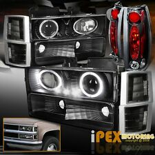 94-98 GMC Sierra/Suburban Halo Projector Black LED Headlights+Corner+Tail Lights