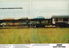PUBLICITE ADVERTISING 025  1979  SNCF  les trains AUTO-COUCHETTES  ( 2p)