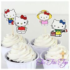 12pcs Hello Kitty cupcake toppers Girl Princess Party. Fruit jelly Cup Girl