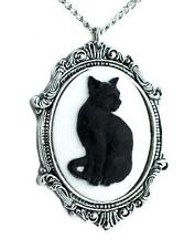 Black Cat Cameo Necklace Gothic Halloween Jewelry Pendant Lucky 13 Punk Witch
