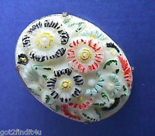 Buy3/Get1FREE~Abstract Painted CAMEO Pin Vintage Porcelain Bisque Modernist