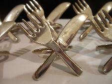 Set of 6 Vintage Crossed Fork & Knife Napkin Ring Holders, Silver or plated (?)