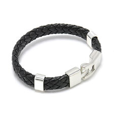 New Fashion Men Women Leather Wrap Wristband Cuff Magnetic Clasp Bracelet Bangle