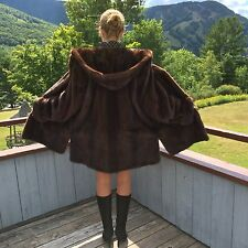 Mohogany Brown Mink Fur Coat Jacket With Hood and Belt