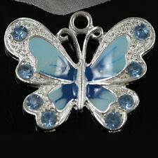 5/20/50 Pcs Silver Plated Enamel Butterfly Pendant Charms Jewelry Making Craft