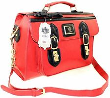 LARGE LYDC SATCHEL SCHOOL COLLEGE UNIVERSITY FAUX LEATHER ACROSS BODY BAG RED
