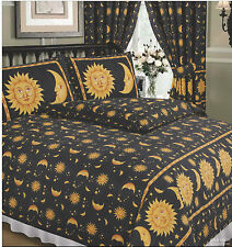 SINGLE BED DUVET COVER SET SUN AND MOON BLACK YELLOW GOLD STARS BORDER 68 PICK
