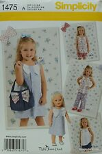 "Simplicity 1475 Sewing PATTERN for Girl's 3-8 & 18"" DOLL CLOTHES Summer Wear"
