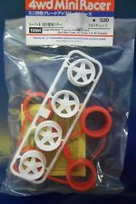 TAMIYA ACCESSORI MINI 4WD GOMME ROSSE + CERCHI BIANCHI  WHEELS & TIRES ART 15504