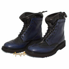 PRADA  BLUE BLACK LEATHER PULL UP LACED ANKLE BOOTS 2TG018 NEW 10 US 43 EU