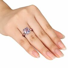AMETHYST ROSE DE FRANCE EMERALD/RADIANT CUT SOLITAIRE STERLING SILVER ROSE PLATE