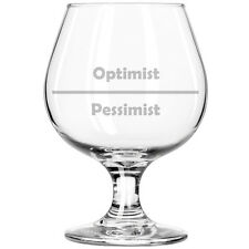 Belgian Tulip Beer Goblet Brandy Snifter Glass Funny Optimist Pessimist