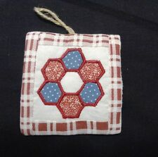 Set of 4 Quilt Themed Cloth Christmas Ornaments with Flower Garden Pattern