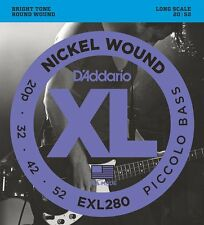 D'Addario XL Nickel Round Wound Piccolo Bass Strings Set EXL280 Long Scale 20/52