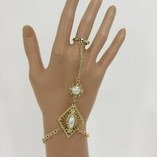 New Women Gold Metal Hand Chain Fashion Bracelet Imitation Pearl Bead Slave Ring
