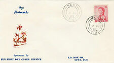 Stamp 1966 Fiji 2d red QE2 definitive on first day cachet postmarked NADI