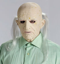 Latex Old Man Mask Bald Head Costume Wrinkled Skin Long White Hair Adult Mens