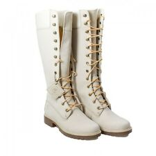 Timberland 14 Inch Wmn Sz 6 Winter White Nubuck Leather Knee High Boots 23686