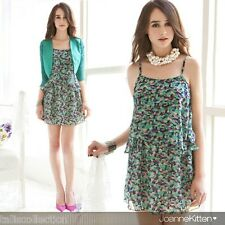 Retro Vintage Print Sleeveless Cocktail Party Floral Layer Mini Hot Dress JK2929