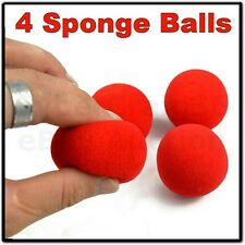 "4 RED SOFT MAGIC MULTIPLYING SPONGE BALLS PARTY CLOWN KID TRICK FOAM 1.75"" 4.5cm"