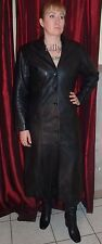OLIVETREE Long Black Leather Cuir Cuero Pelle Coat Goth Size 16 UK 14 USA 42 EUR