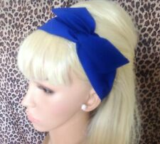 Royal Blue Algodón Doble Wire Hair Wrap Con Cable Bufanda Cintillo 50s De Estilo Retro Nuevo