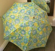 Ladies 60's/70's Vintage Umbrella Green/Blue/Yellow Floral Gold Metal Handle