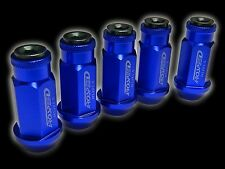 20PC 12X1.25MM 50MM EXTENDED ALUMINUM RACING CAPPED LUG NUTS BLUE/BLACK